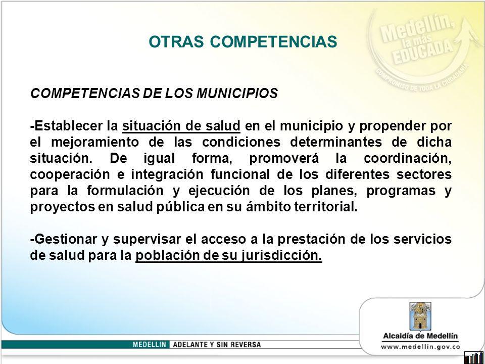 OTRAS COMPETENCIAS COMPETENCIAS DE LOS MUNICIPIOS