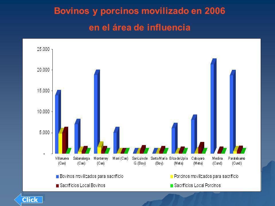 Bovinos y porcinos movilizado en 2006 en el área de influencia