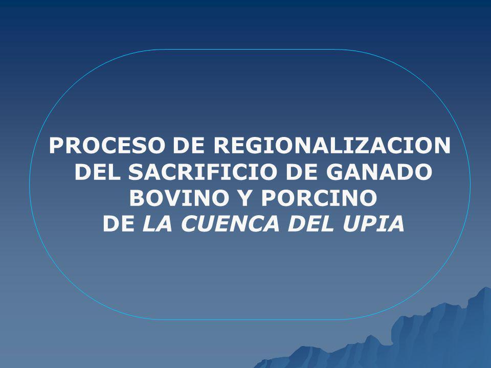 PROCESO DE REGIONALIZACION DEL SACRIFICIO DE GANADO