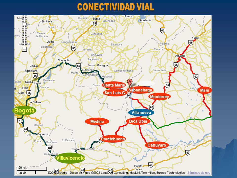 Bogotá CONECTIVIDAD VIAL Villavicencio Manì Monterrey Sabanalarga