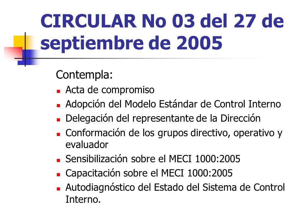 CIRCULAR No 03 del 27 de septiembre de 2005