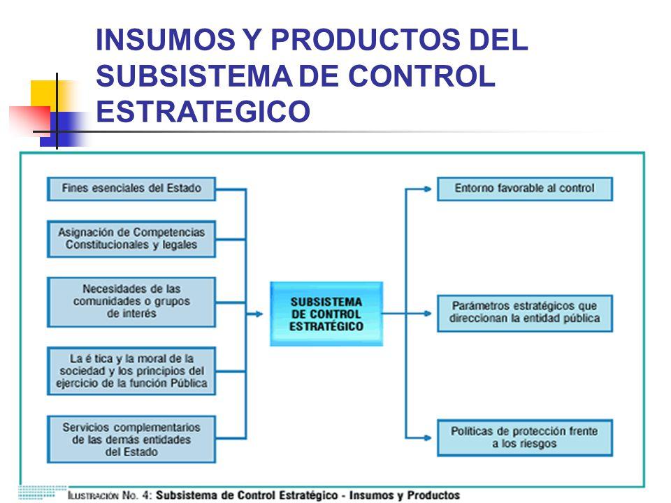 INSUMOS Y PRODUCTOS DEL SUBSISTEMA DE CONTROL ESTRATEGICO