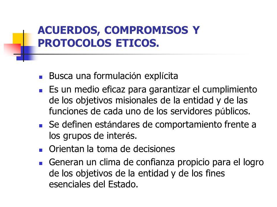 ACUERDOS, COMPROMISOS Y PROTOCOLOS ETICOS.