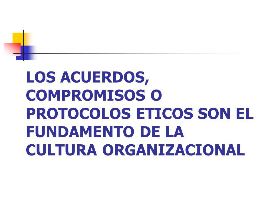LOS ACUERDOS, COMPROMISOS O PROTOCOLOS ETICOS SON EL FUNDAMENTO DE LA CULTURA ORGANIZACIONAL