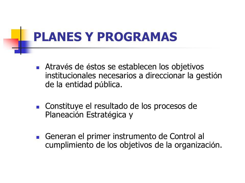 PLANES Y PROGRAMAS Através de éstos se establecen los objetivos institucionales necesarios a direccionar la gestión de la entidad pública.