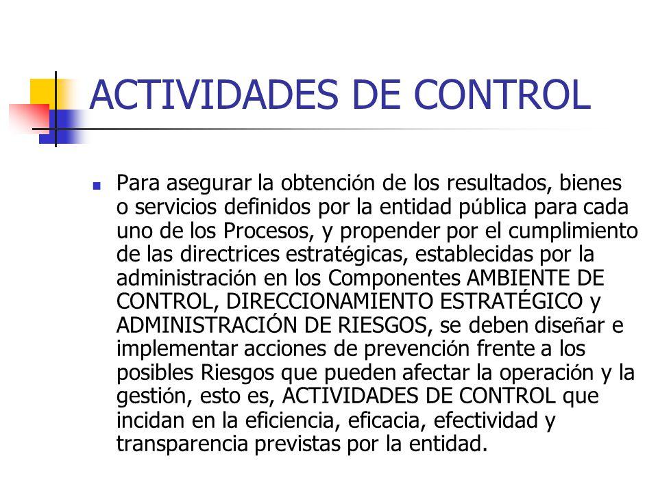 ACTIVIDADES DE CONTROL