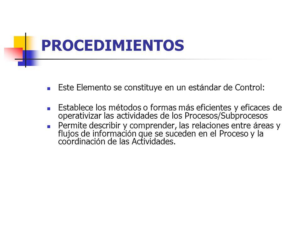PROCEDIMIENTOS Este Elemento se constituye en un estándar de Control: