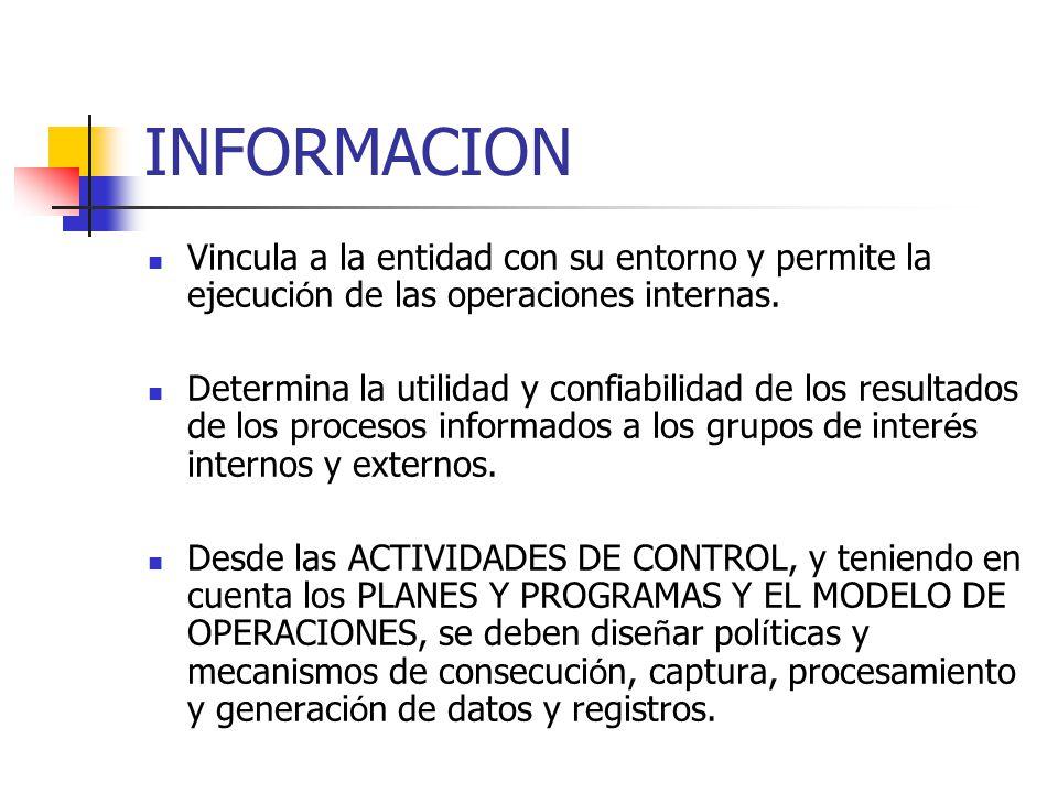 INFORMACION Vincula a la entidad con su entorno y permite la ejecución de las operaciones internas.
