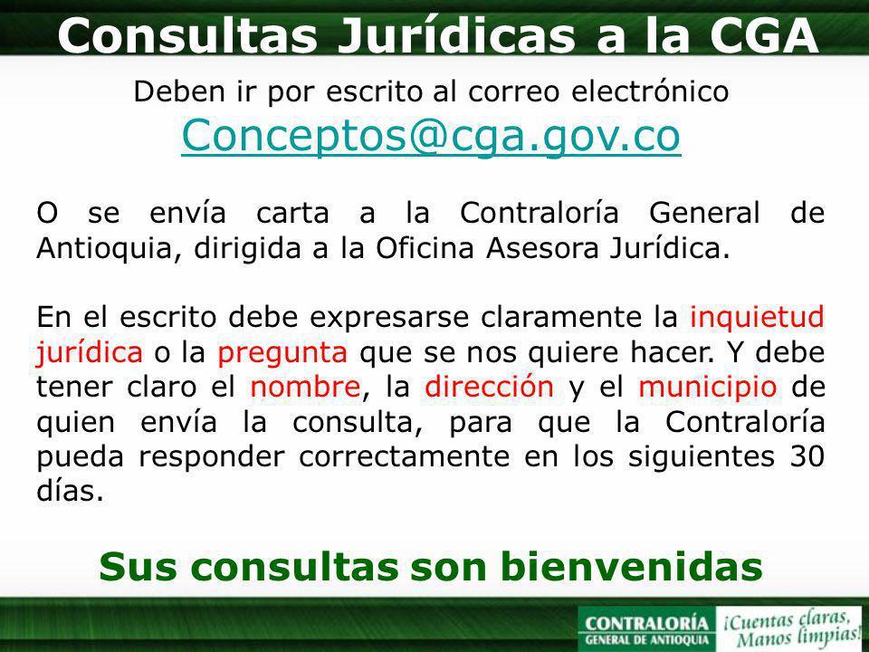 Consultas Jurídicas a la CGA Sus consultas son bienvenidas