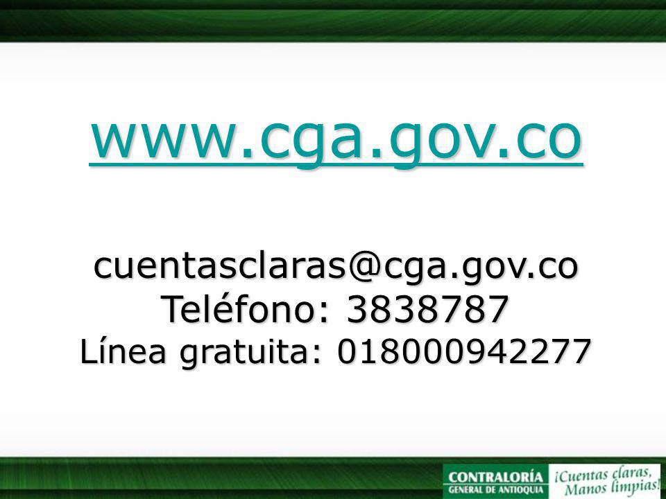 www.cga.gov.co cuentasclaras@cga.gov.co Teléfono: 3838787