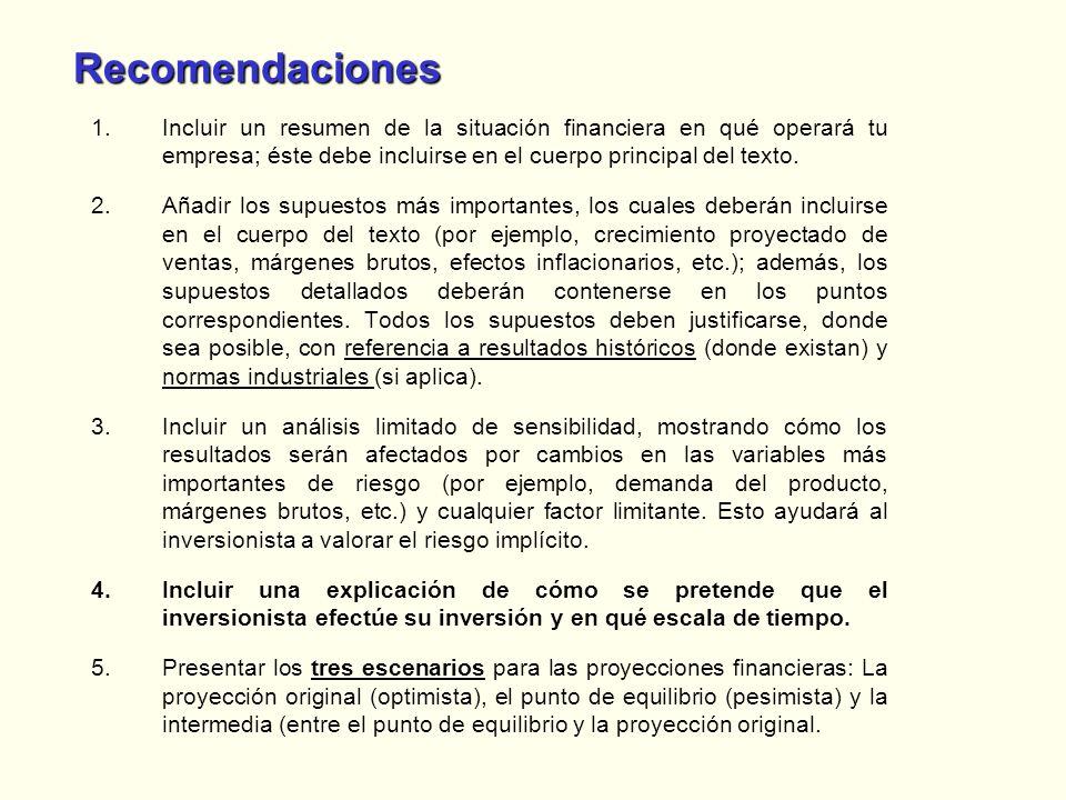 RecomendacionesIncluir un resumen de la situación financiera en qué operará tu empresa; éste debe incluirse en el cuerpo principal del texto.