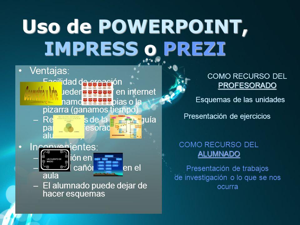 Uso de POWERPOINT, IMPRESS o PREZI