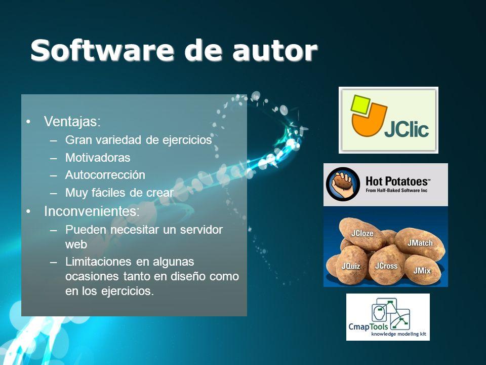 Software de autor Ventajas: Inconvenientes: