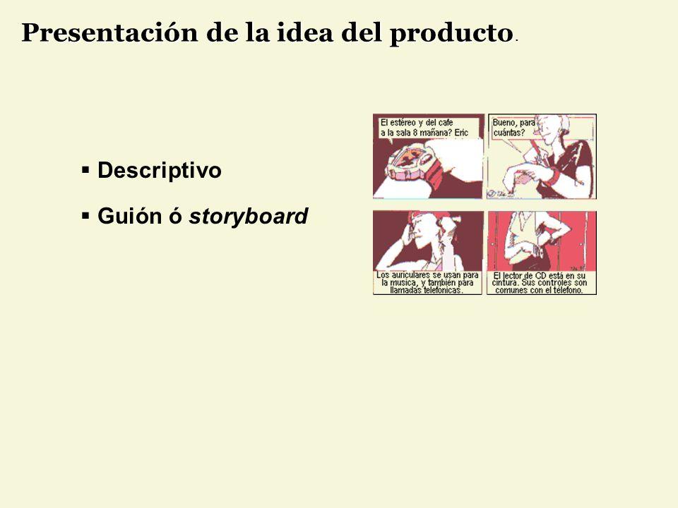 Presentación de la idea del producto.