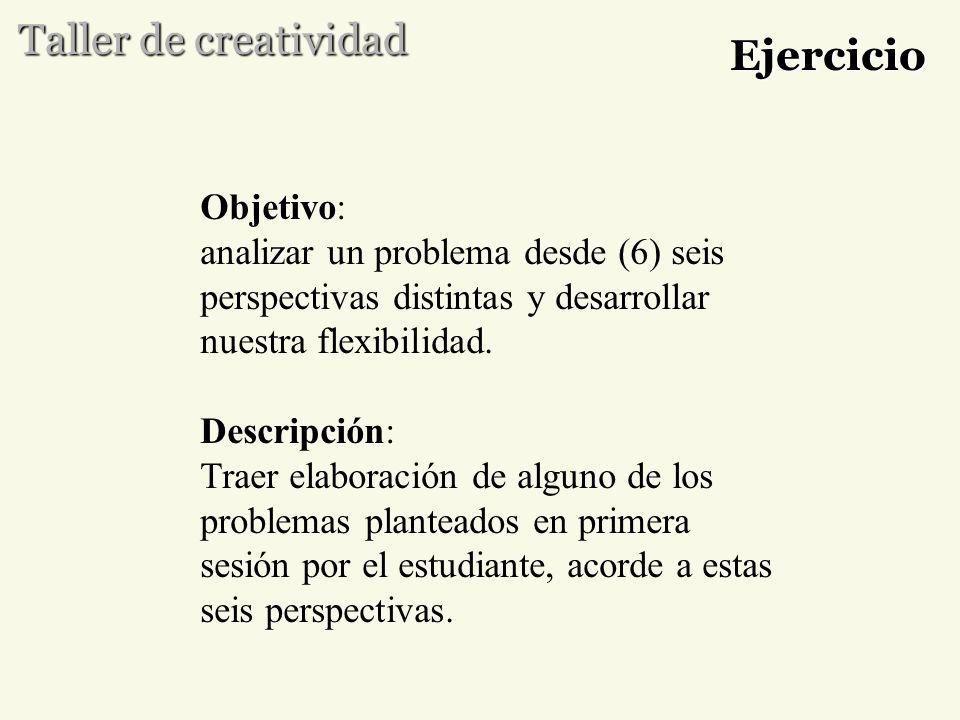 Taller de creatividad Ejercicio Objetivo: