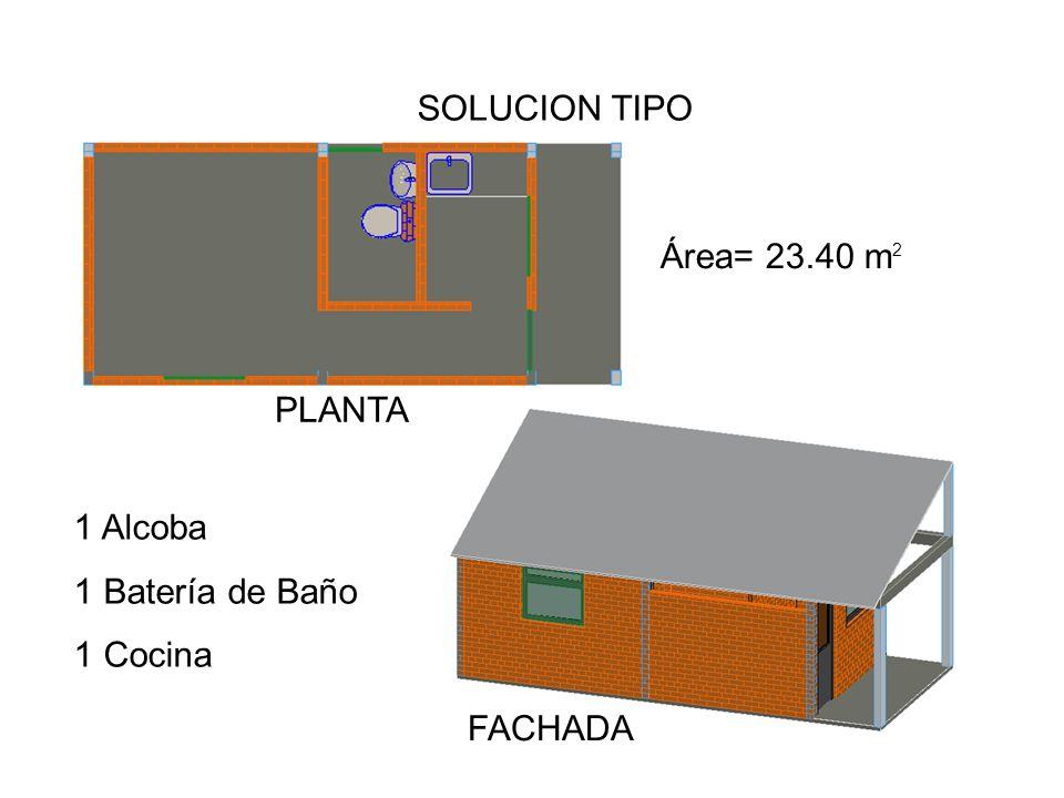 SOLUCION TIPO Área= 23.40 m PLANTA 1 Alcoba 1 Batería de Baño 1 Cocina