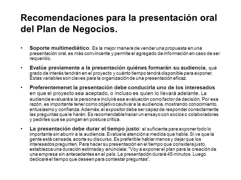 Recomendaciones para la presentación oral del Plan de Negocios.