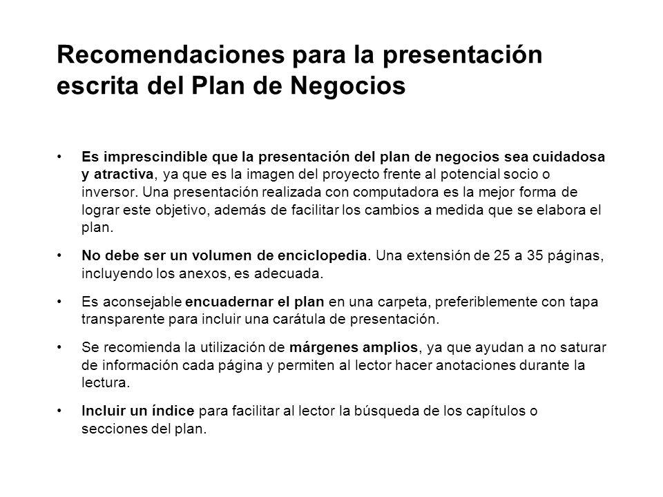 Recomendaciones para la presentación escrita del Plan de Negocios