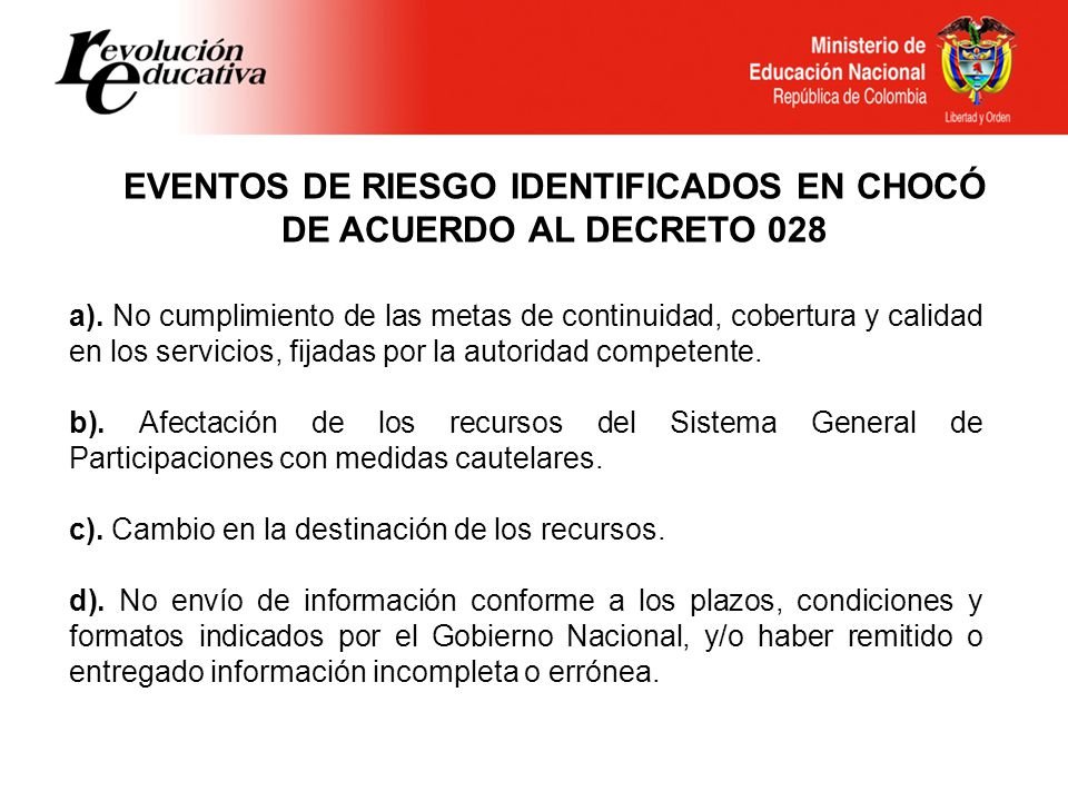 EVENTOS DE RIESGO IDENTIFICADOS EN CHOCÓ DE ACUERDO AL DECRETO 028