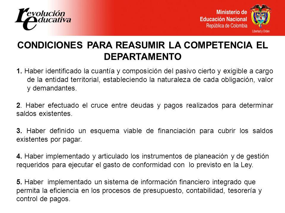 CONDICIONES PARA REASUMIR LA COMPETENCIA EL DEPARTAMENTO