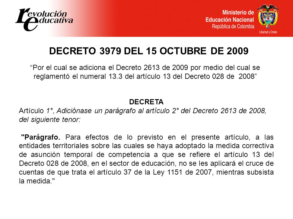 DECRETO 3979 DEL 15 OCTUBRE DE 2009