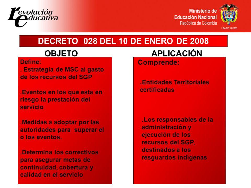 DECRETO 028 DEL 10 DE ENERO DE 2008 APLICACIÓN