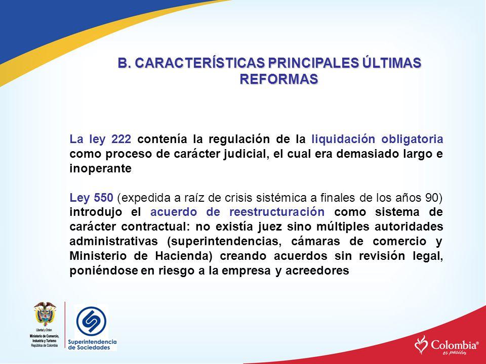B. CARACTERÍSTICAS PRINCIPALES ÚLTIMAS REFORMAS