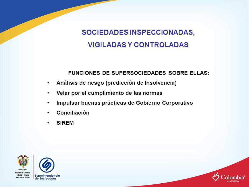 SOCIEDADES INSPECCIONADAS, VIGILADAS Y CONTROLADAS