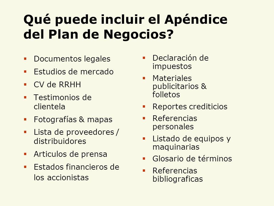 Qué puede incluir el Apéndice del Plan de Negocios