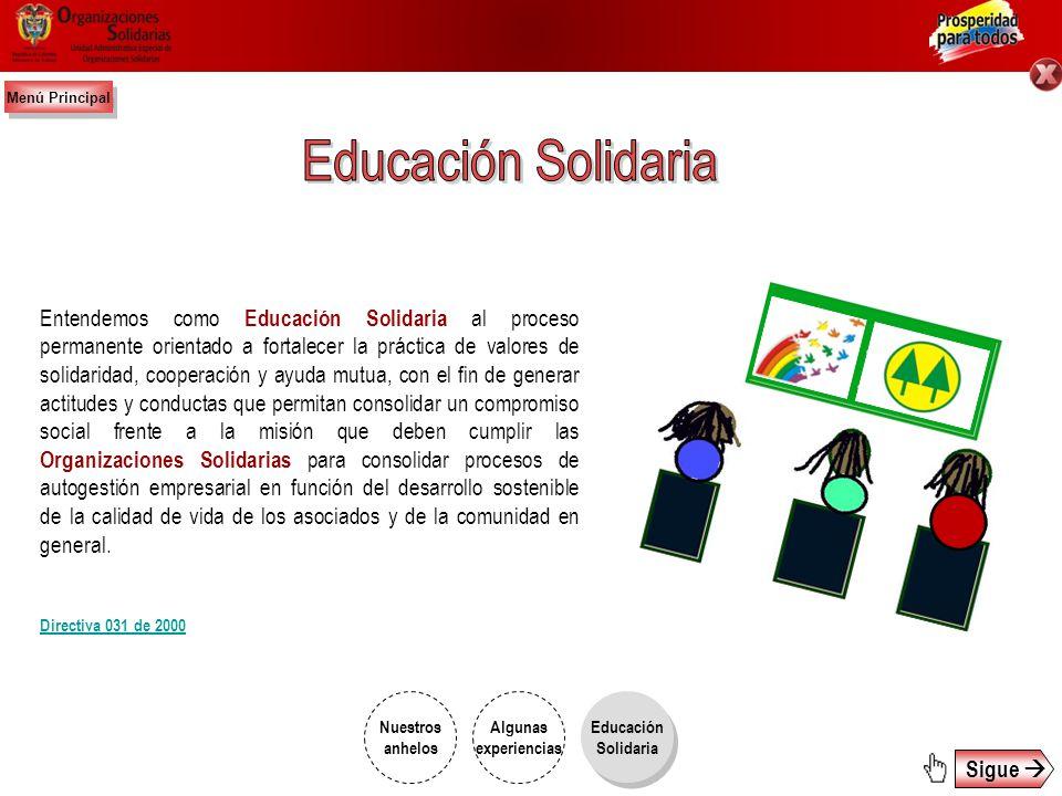 Menú Principal Educación Solidaria.