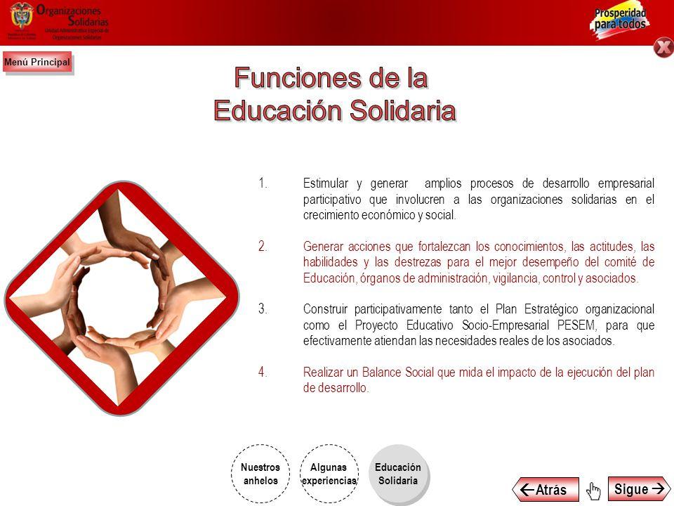 Funciones de la Educación Solidaria  Atrás Sigue 