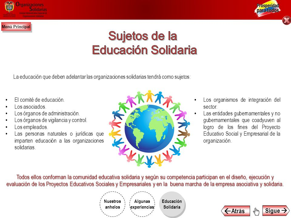 Sujetos de la Educación Solidaria  Atrás Sigue 