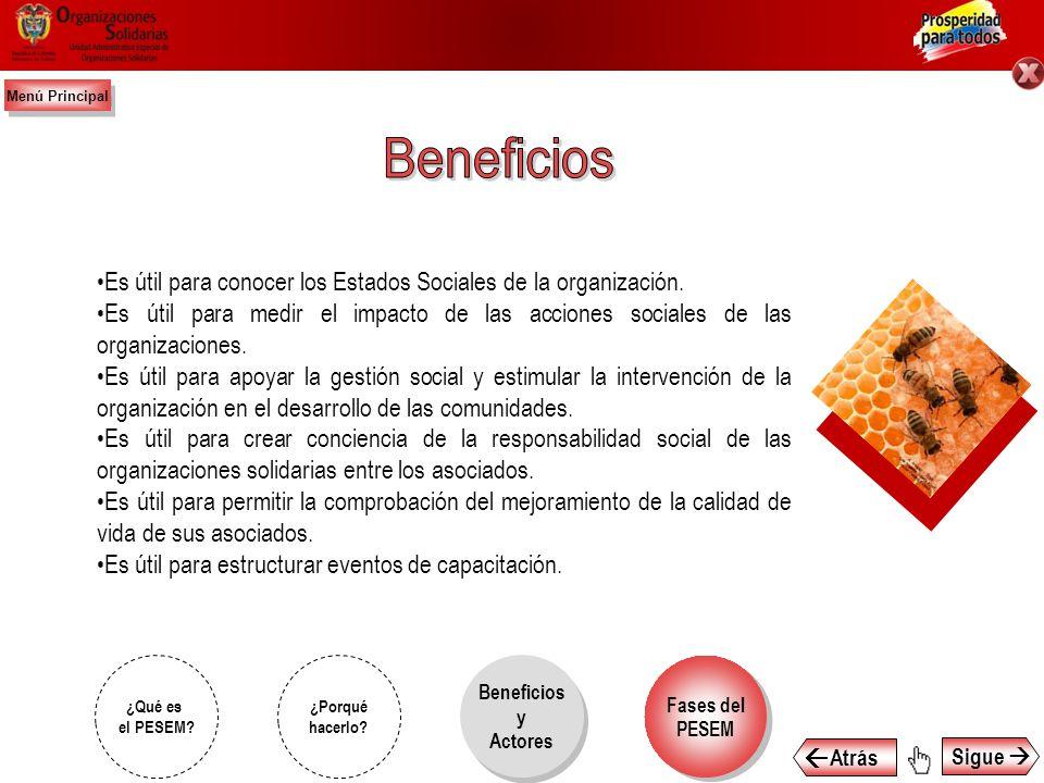 Menú Principal Beneficios. Es útil para conocer los Estados Sociales de la organización.