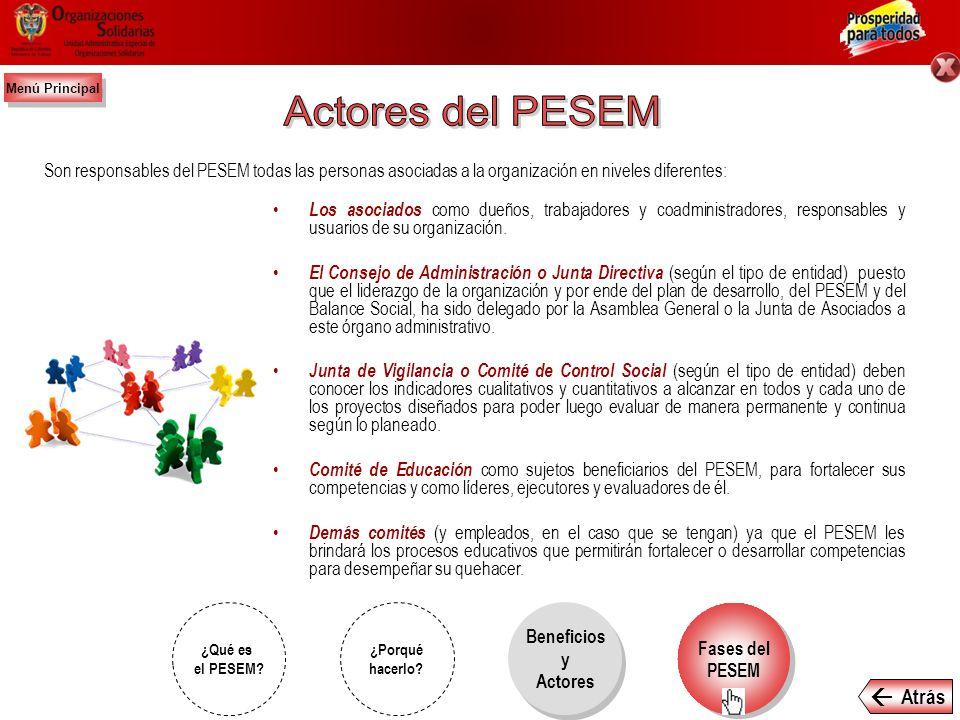 Actores del PESEM  Atrás