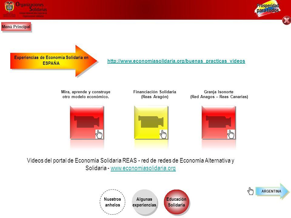 Menú Principal Experiencias de Economía Solidaria en. ESPAÑA. http://www.economiasolidaria.org/buenas_practicas_videos.