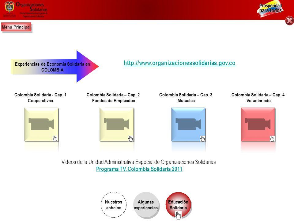 Menú Principal http://www.organizacionessolidarias.gov.co. Experiencias de Economía Solidaria en. COLOMBIA.