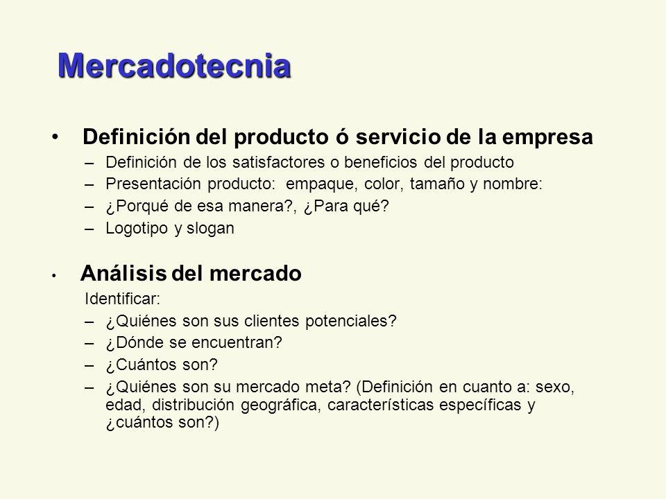 Mercadotecnia Definición del producto ó servicio de la empresa