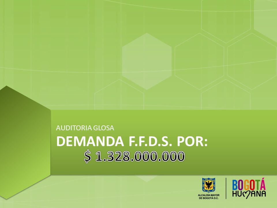 AUDITORIA GLOSA Demanda f.f.d.s. por: $ 1.328.000.000