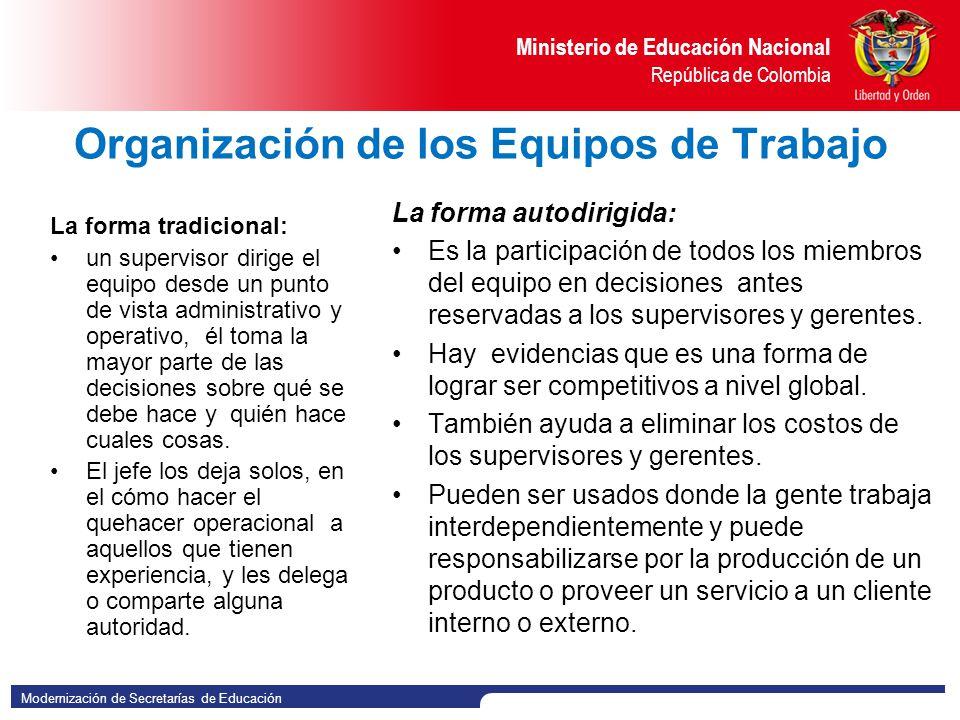 Organización de los Equipos de Trabajo