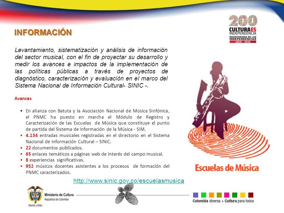 INFORMACIÓN http://www.sinic.gov.co/escuelasmusica