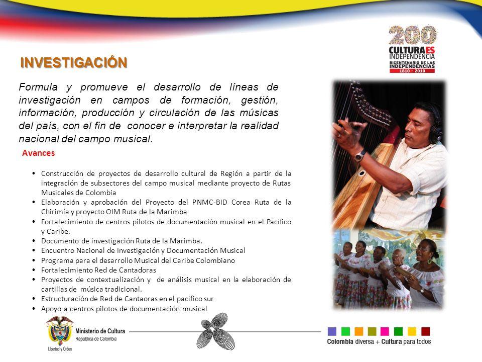 Formula y promueve el desarrollo de líneas de investigación en campos de formación, gestión, información, producción y circulación de las músicas del país, con el fin de conocer e interpretar la realidad nacional del campo musical.