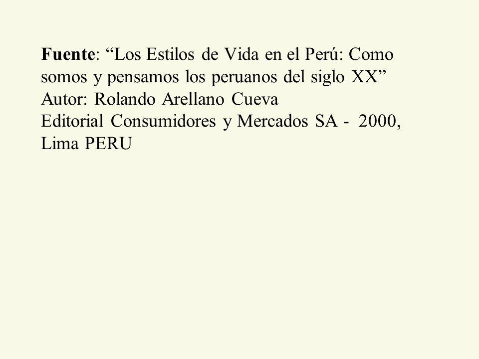 Fuente: Los Estilos de Vida en el Perú: Como somos y pensamos los peruanos del siglo XX Autor: Rolando Arellano Cueva Editorial Consumidores y Mercados SA - 2000, Lima PERU