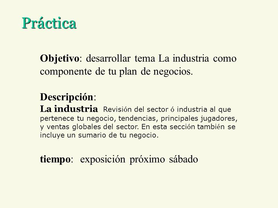 PrácticaObjetivo: desarrollar tema La industria como componente de tu plan de negocios. Descripción:
