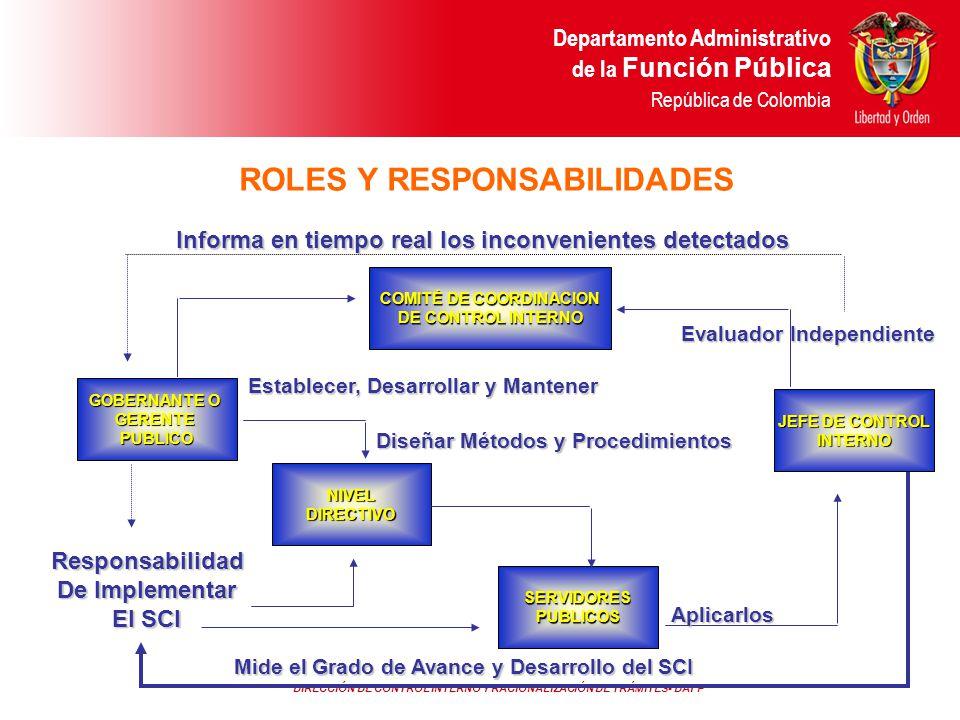 ROLES Y RESPONSABILIDADES COMITÉ DE COORDINACION