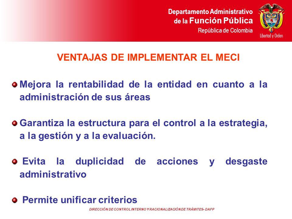 VENTAJAS DE IMPLEMENTAR EL MECI
