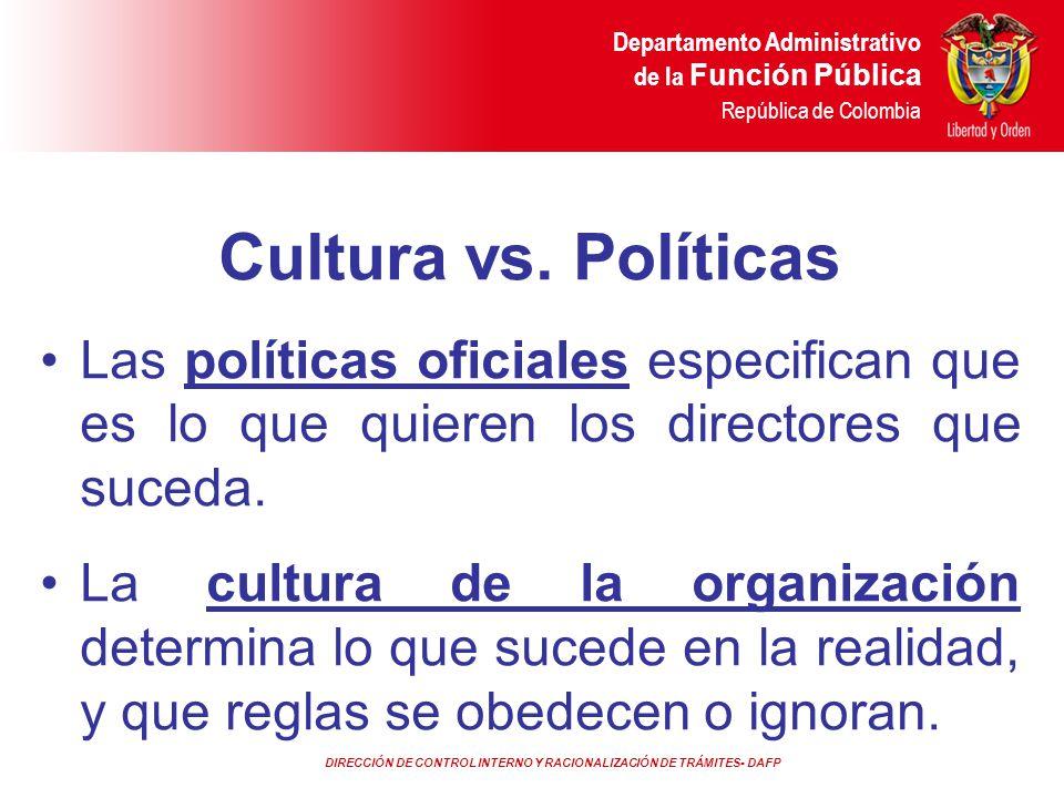 Cultura vs. Políticas Las políticas oficiales especifican que es lo que quieren los directores que suceda.