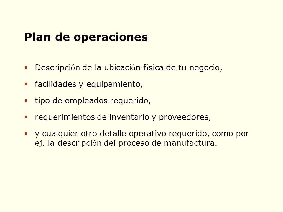 Plan de operaciones Descripción de la ubicación física de tu negocio,