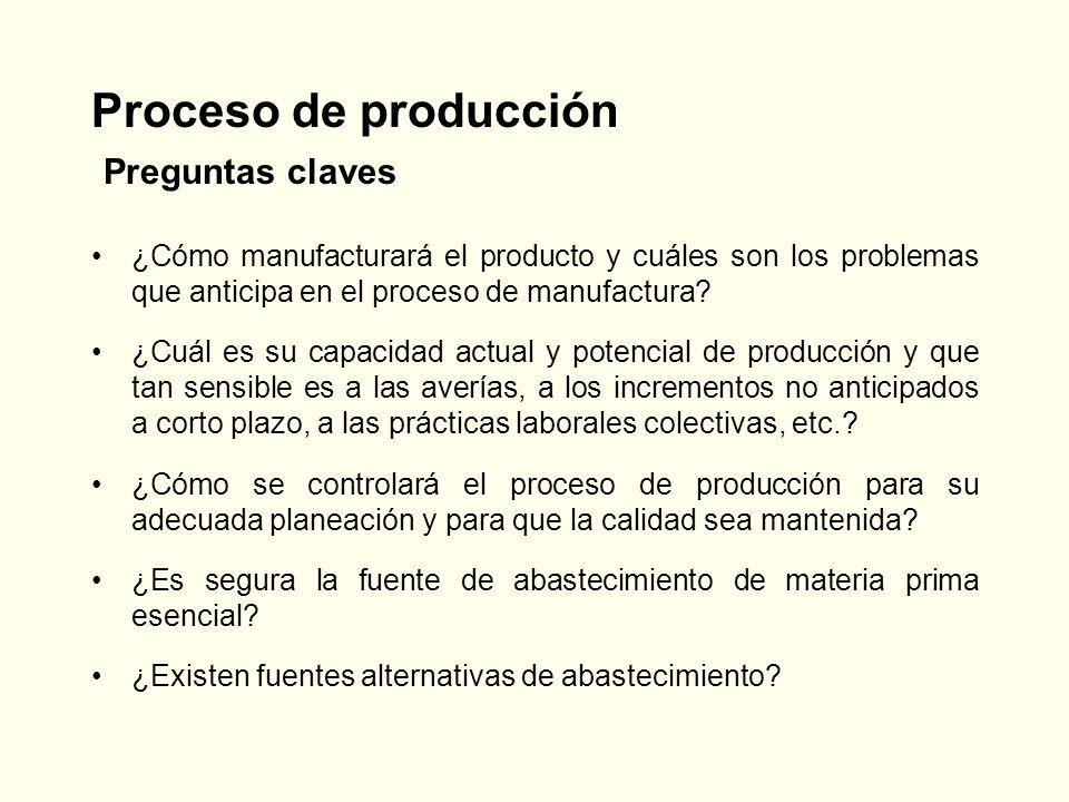 Proceso de producción Preguntas claves