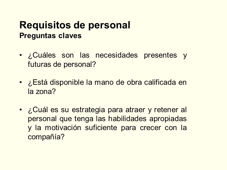 Requisitos de personal Preguntas claves