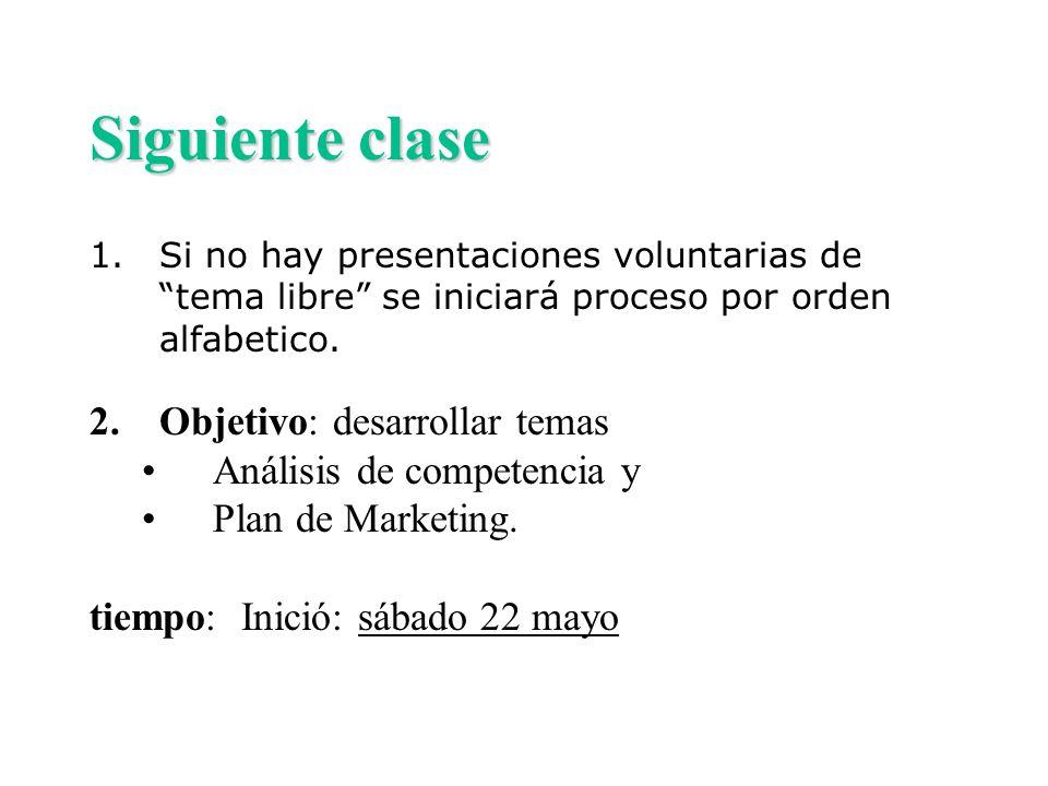 Siguiente clase Objetivo: desarrollar temas Análisis de competencia y